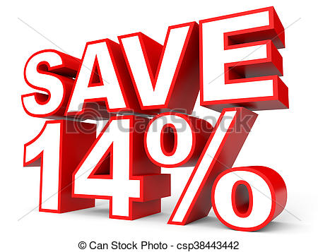 450x357 Discount 14 Percent Off. 3d Illustration On White Drawing