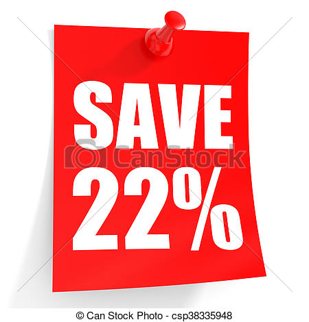 450x470 Discount 22 Percent Off. 3d Illustration On White Drawing