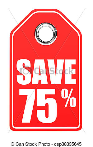 299x470 Discount 75 Percent Off. 3d Illustration On White Drawing