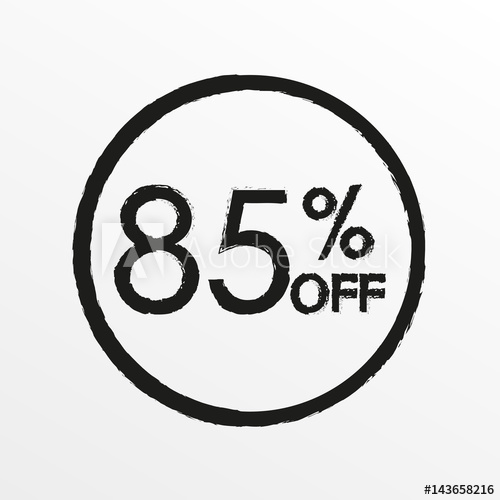500x500 85% Off. Sale And Discount Price Icon. Sales Tag Design Template