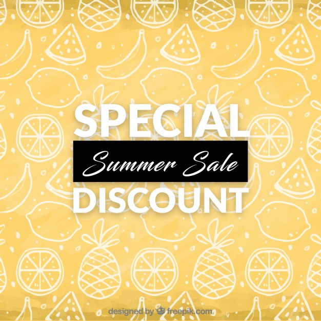 626x626 Summer Discount Background With Fruit Drawing Vector Free Download