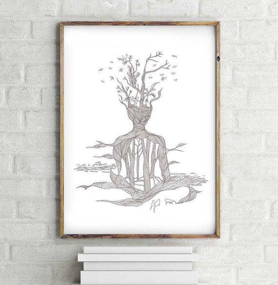 570x584 Meditative Drawing Yoga Art Line Art Drawing
