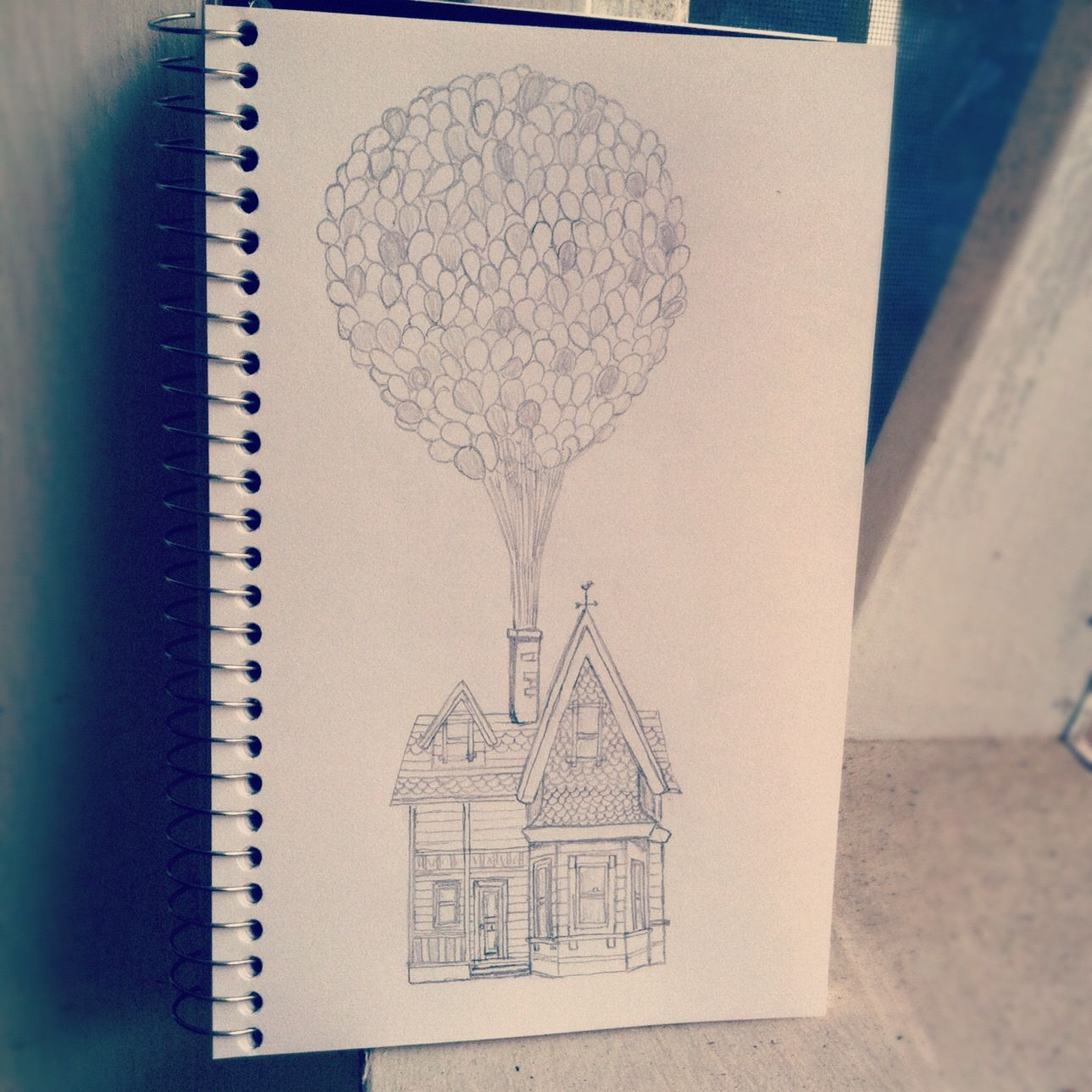 1289x1289 The Up House Drawn In Pencil Art House Drawing