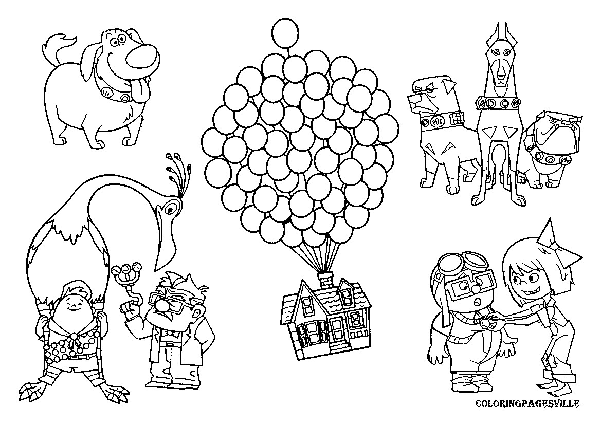 1169x827 Coloring Pages Disney Movies New Pixar Up House Drawing