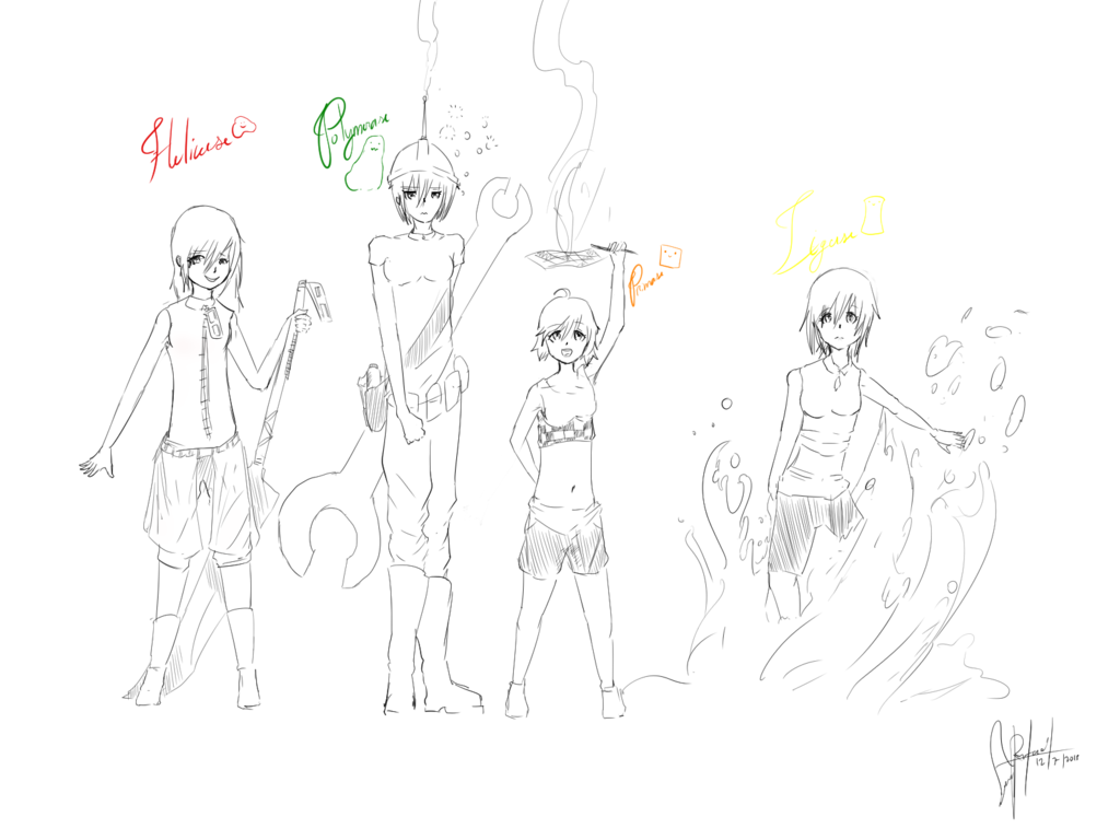 1024x768 Dna Replication Members (Anime Gril Version) By Aberrantanim