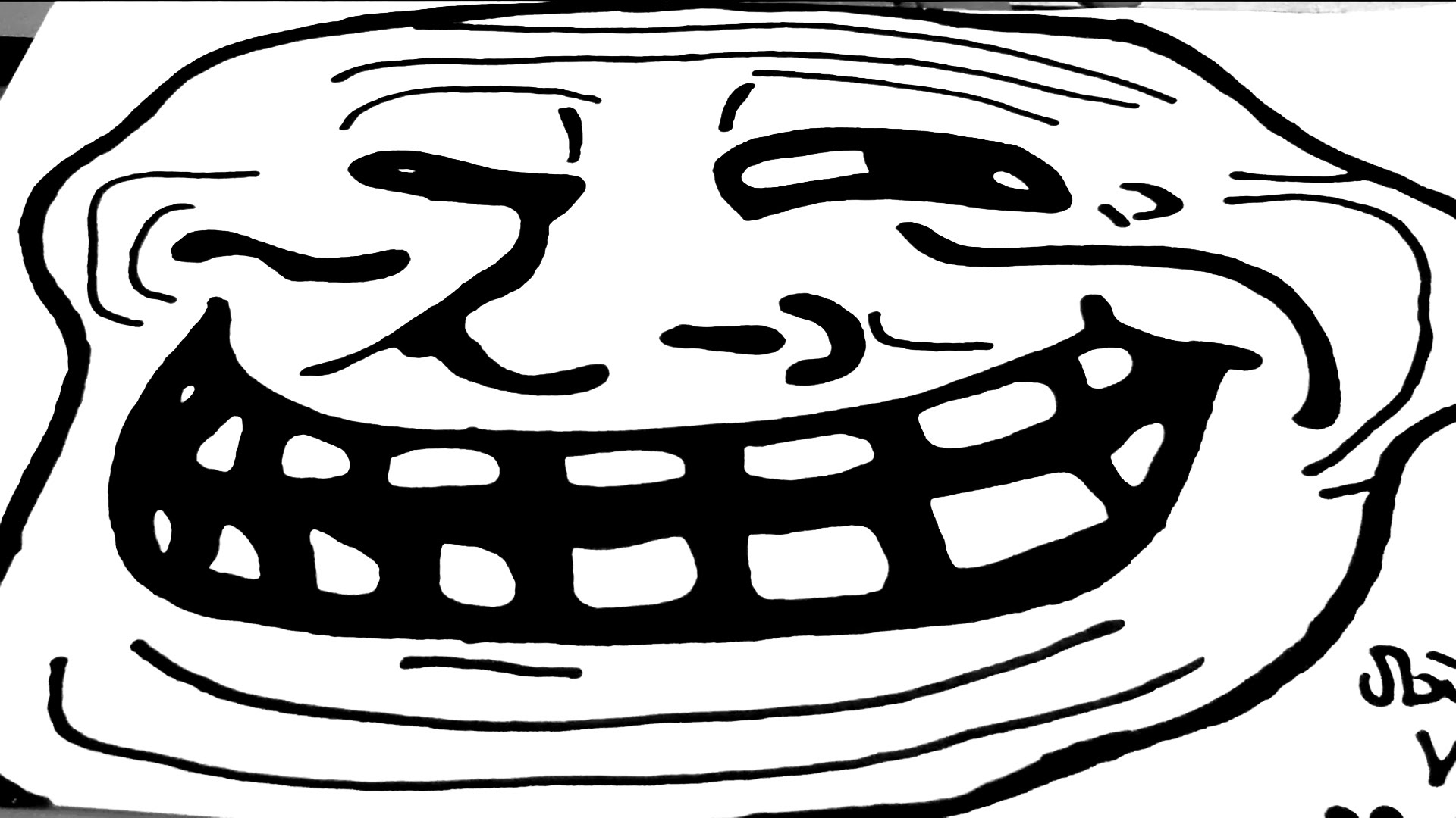 1920x1080 How To Draw Memes Meme Faces Easy A Troll Face With Pencil