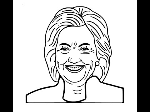 480x360 How To Draw Hillary Clinton Face Sketch Drawing Step By Step