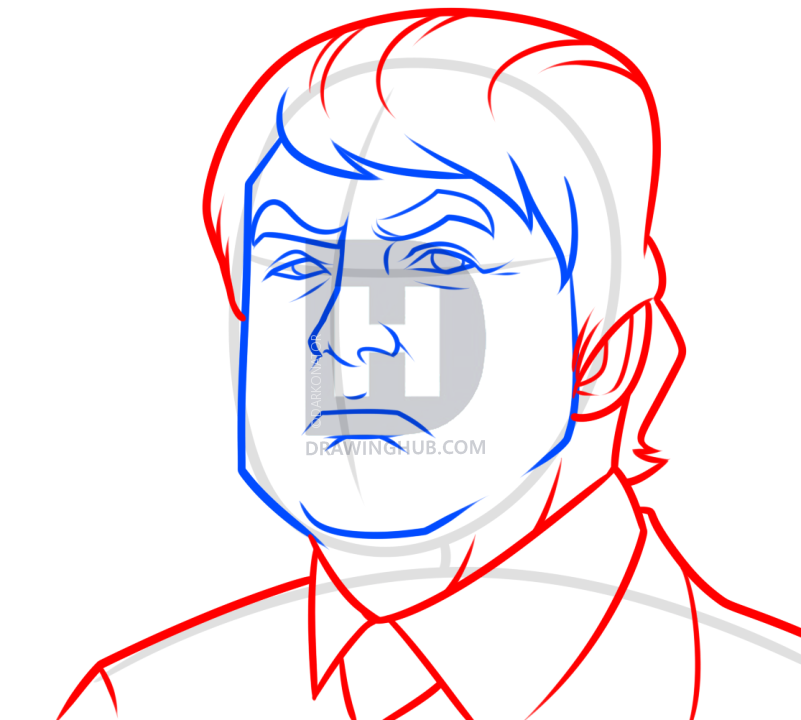 801x720 Donald Trump Drawing Lesson, Step By Step, Drawing Guide, By