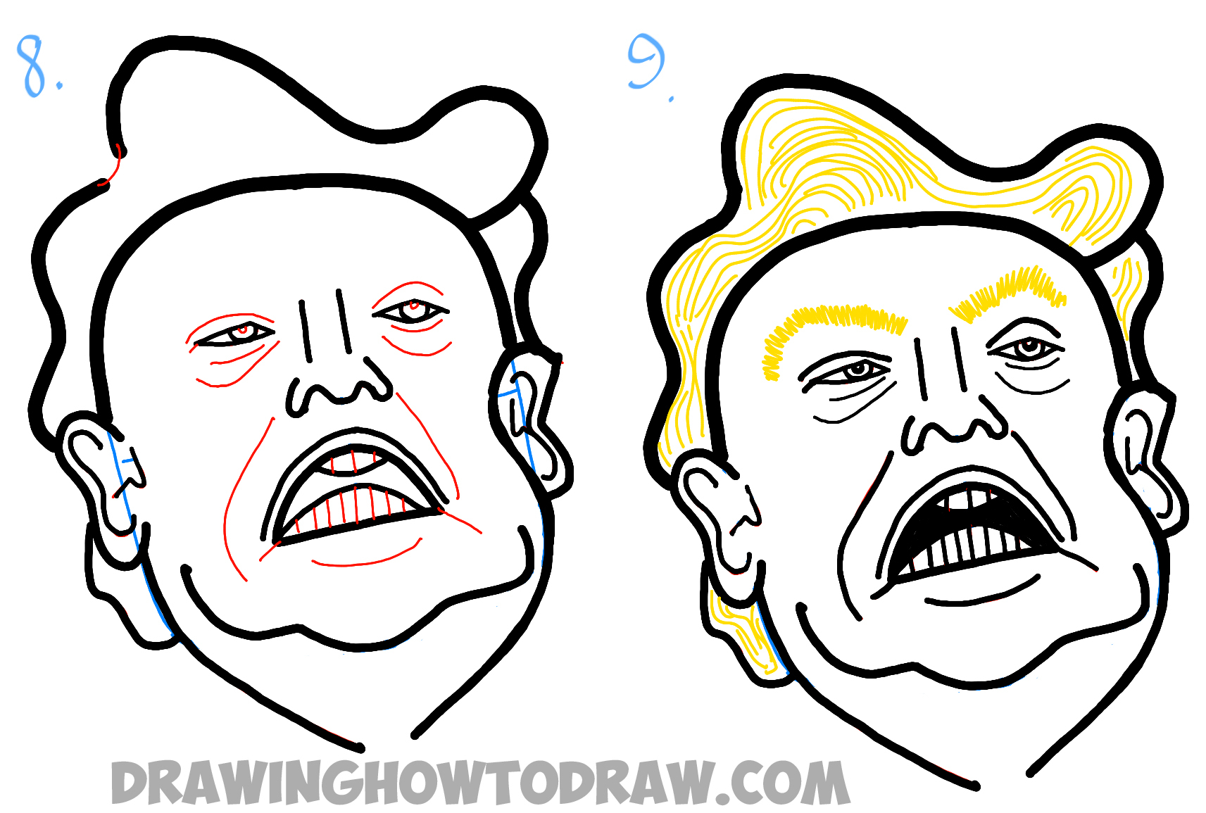 1713x1155 Easy Caricature Drawing How To Draw Donald Trump Caricature