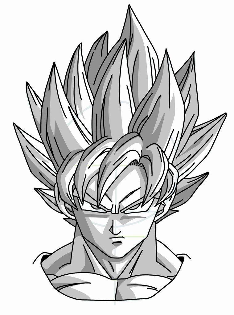 759x1024 Drawing Goku Super Saiyan From Dragonball Z Tutorial Dragon Ball