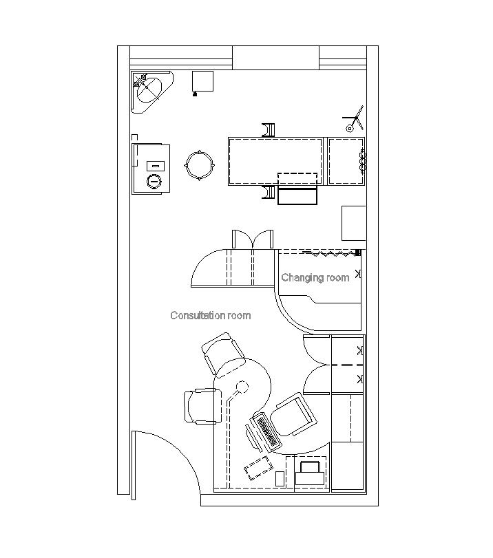 716x811 2d Examination Room Cad Drawing