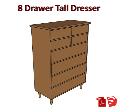 500x458 8 Drawer Tall Dresser Pdf How To Plans With Sketchup Drawing
