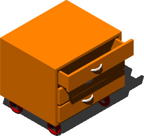 280x266 Drawer With Wheels 3d