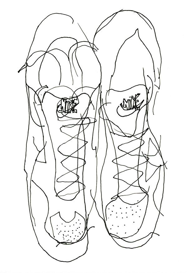 600x875 Blind Contour Drawing Of Sports Shoes Drwing Blind