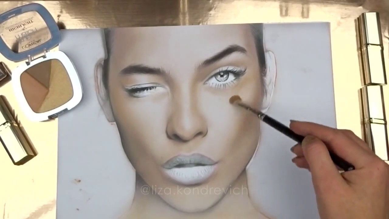 1280x720 Facechart Art Drawing With Makeup On Paper Liza Kondrevich