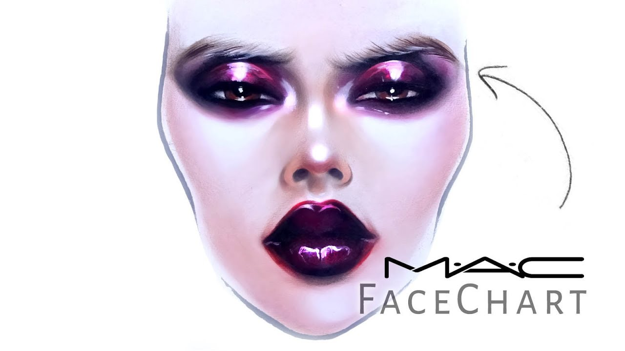 1280x720 Mac Face Chart Drawing With Makeup On Paper Liza Kondrevich