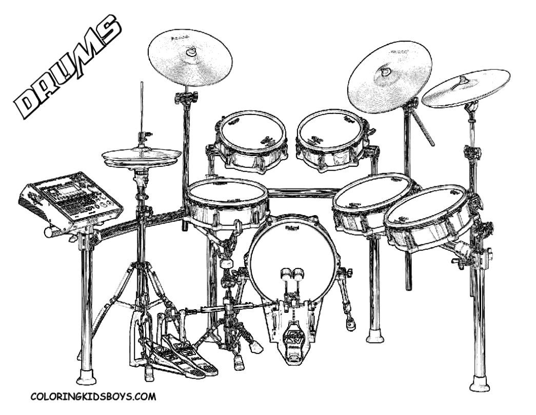 1045x808 Drum Kit Coloring Page Drums And Drawing Kits Colored Pencil Ker