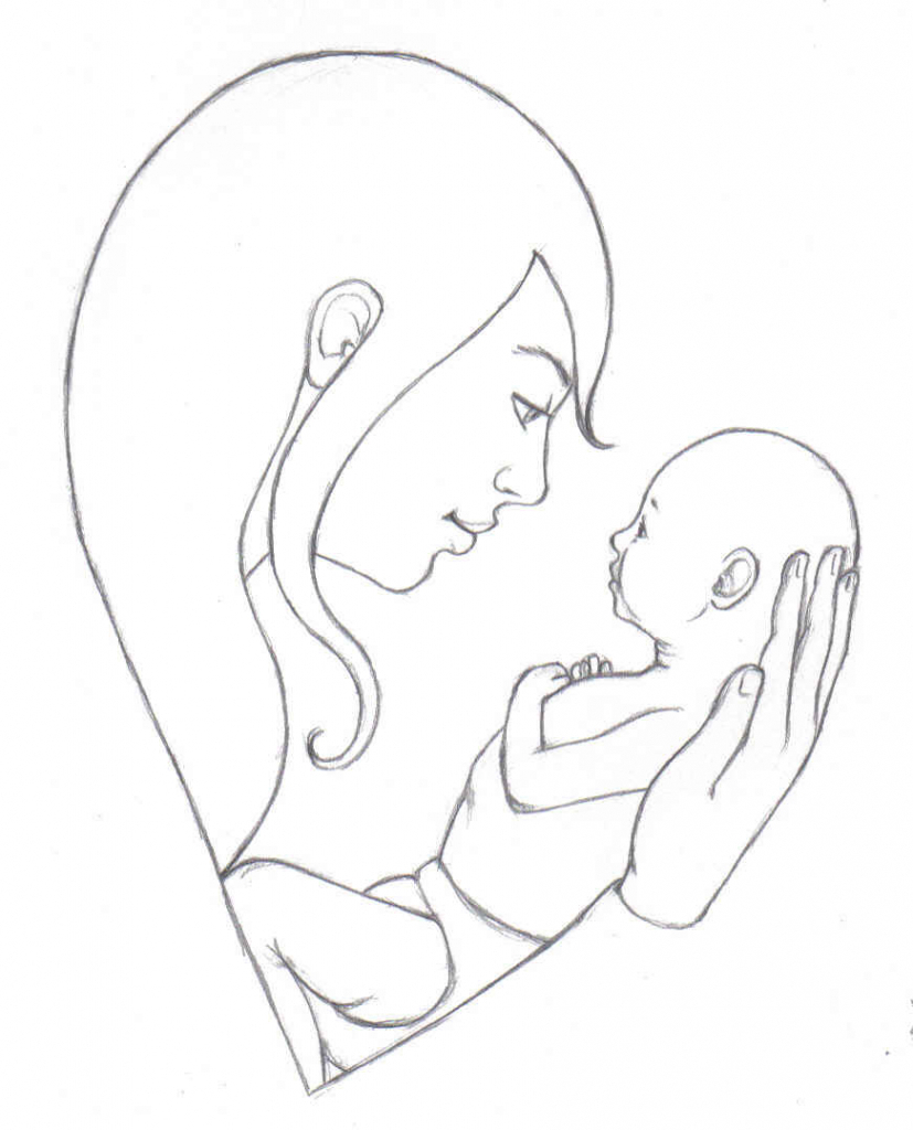 827x1024 Mother And Baby Drawing Mother Amp Baby Drawings Drawing Of Mother