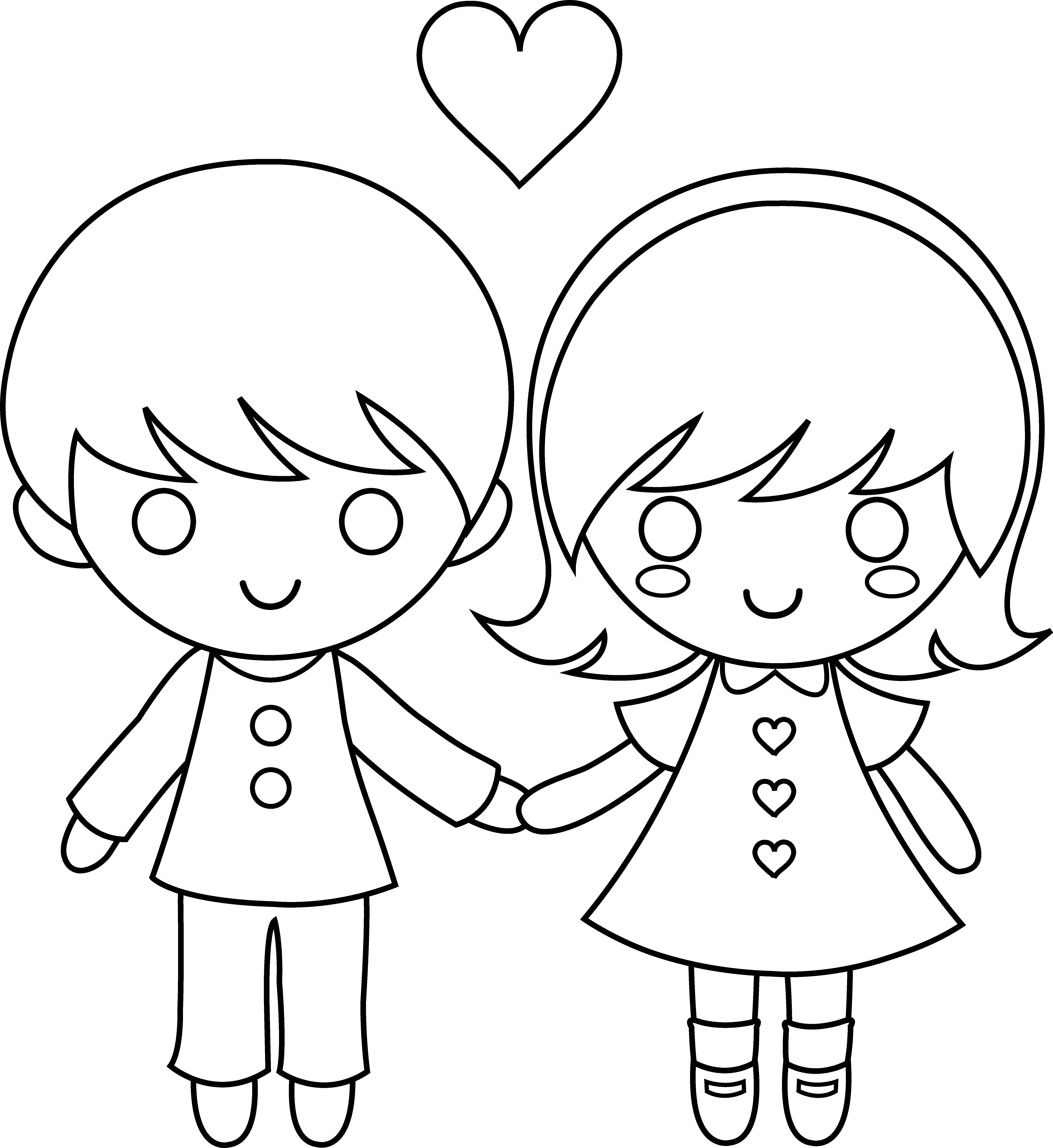6197x6753 Draw Cartoon Boy And Girl Holding Hands Anime Boy And Girl Holding