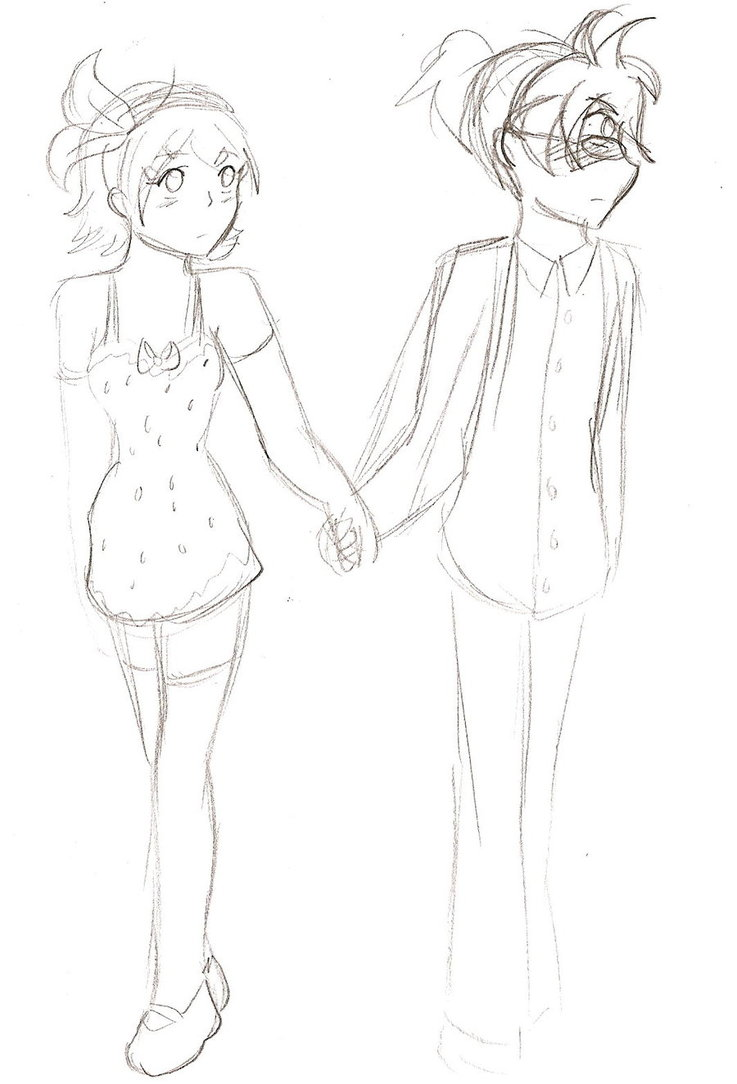 737x1084 Collection Of Drawing Of A Girl And Boy Holding Hands High