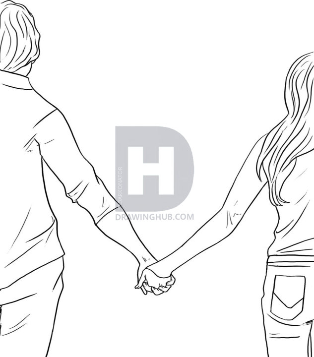 633x720 How To Draw People Holding Hands, Step By Step, Drawing Guide, By