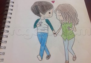 300x210 Anime Boy And Girl Holding Hands Cute Couple Drawing Animes