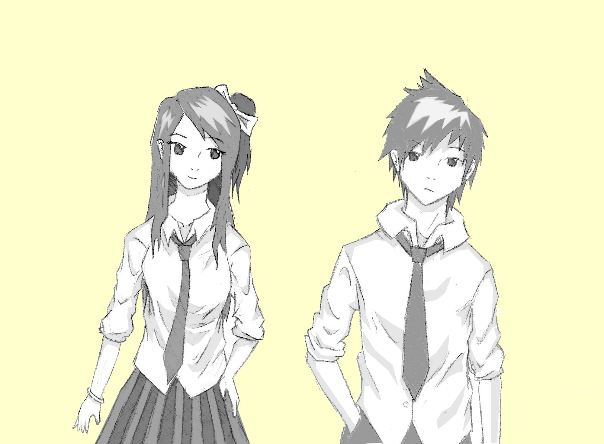 2000x1469 Anime Girl And Boy Holding Hands Anime Drawing Of A Boy And Girl