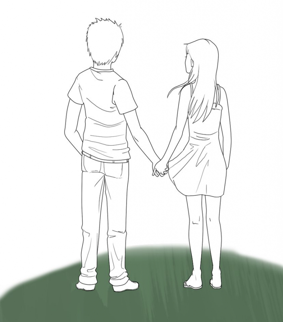 900x1024 Boy And Girl Holding Hands Drawing Boy And Girl With A School Bag