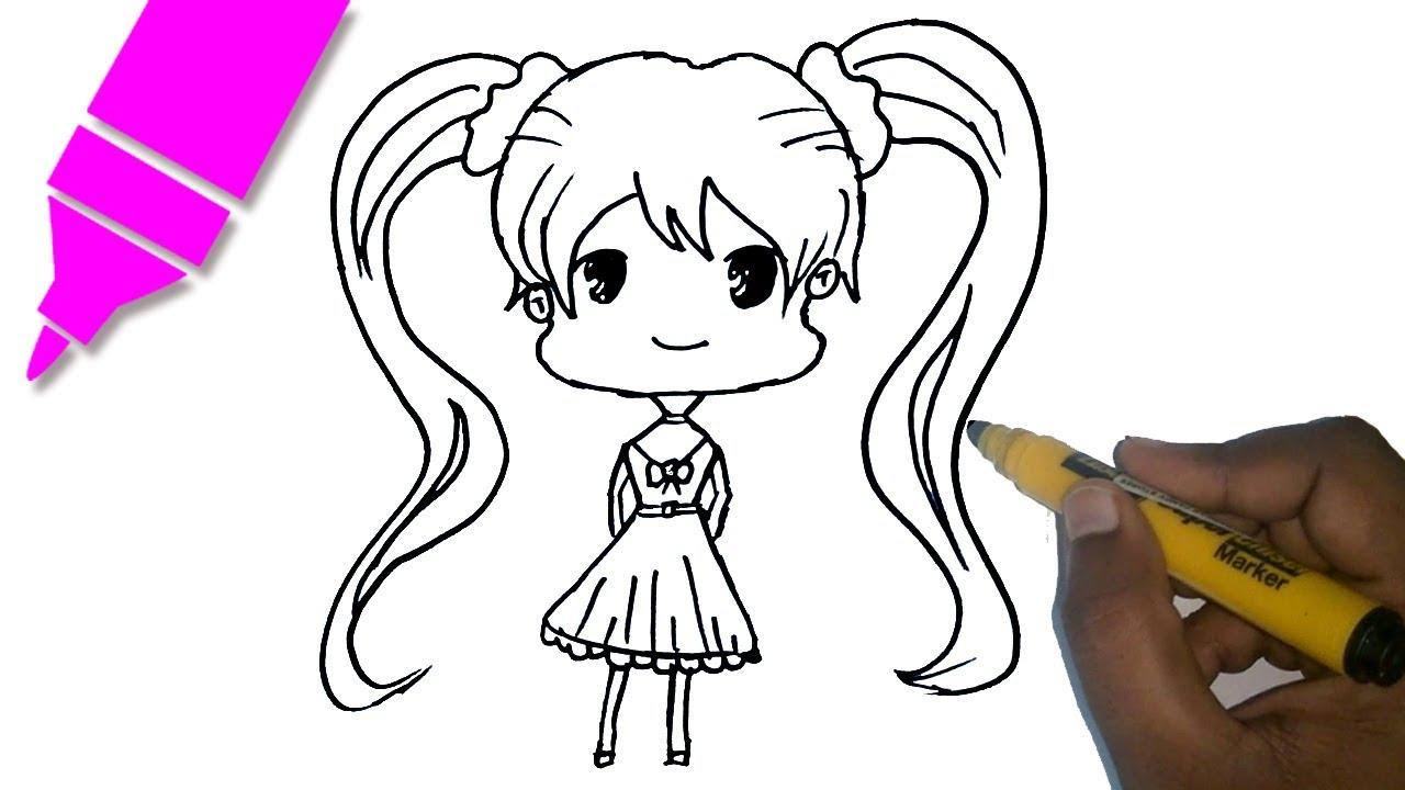 1280x720 Draw A Cartoon Girl For Kids How To Draw A Chibi Anime Girl