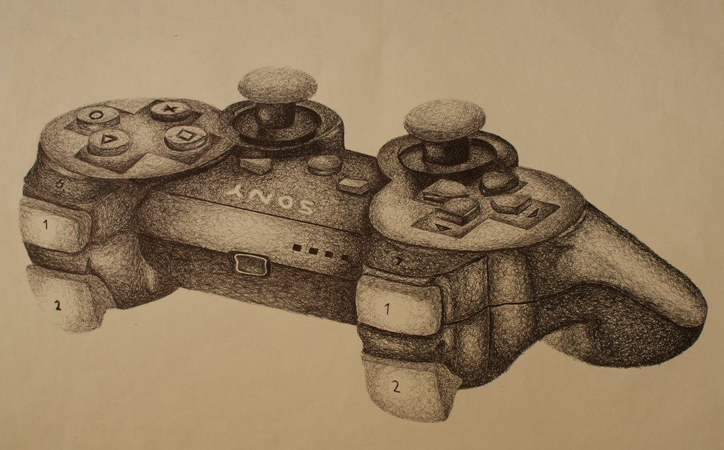 1024x636 Collection Of Drawing Of A Ps3 Controller High Quality, Free