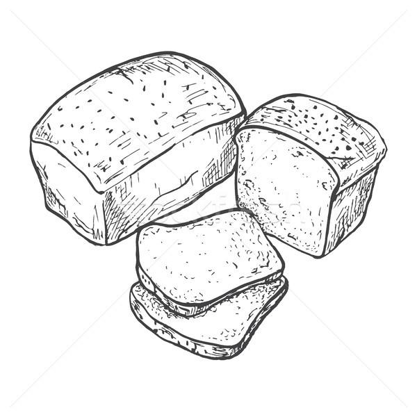 600x600 Rectangular Loaf Bread. Sliced Bread. Vector Illustration