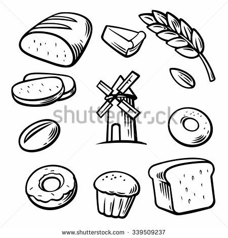 450x470 Set Icon For Bakery. Bread, Mill, Donut, Cake, Slice Of Cake, Corn