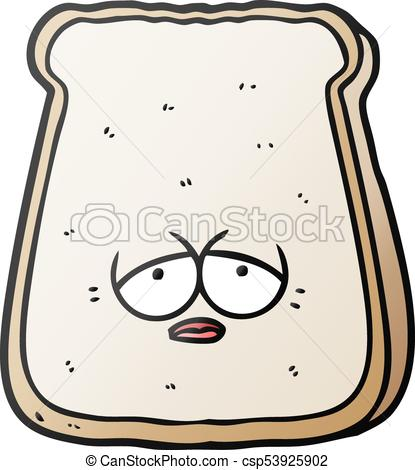 415x470 Cartoon Tired Old Slice Of Bread Vector Clipart