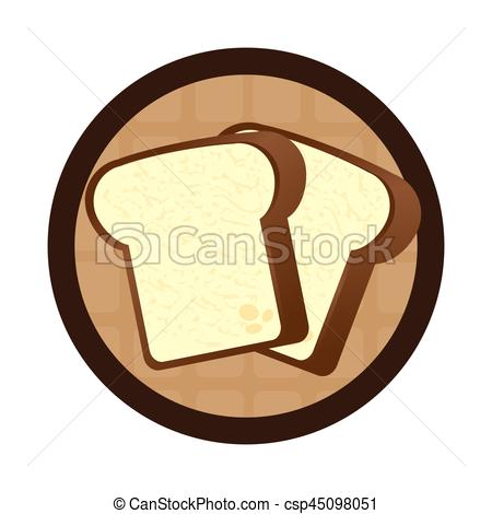 450x470 Circular Wooden Border With Slice Of Bread Vector Illustration.