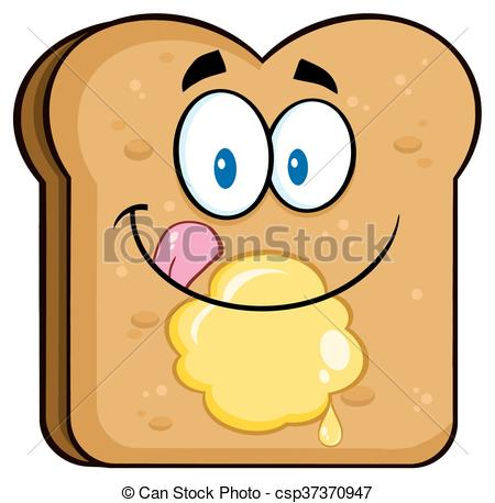 450x458 Happy Toast Bread Slice With Butter. Happy Toast Bread Slice