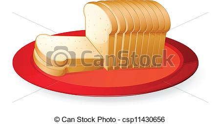 450x255 Illustration Of Bread Slices In Red Dish On White Clipart Vector