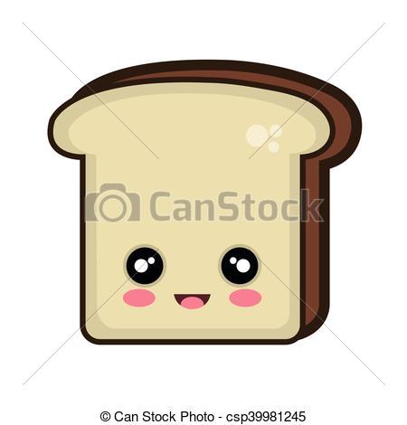 450x470 Kawaii Cartoon Bread Slice. Bread Slice. Kawaii Cartoon With Happy