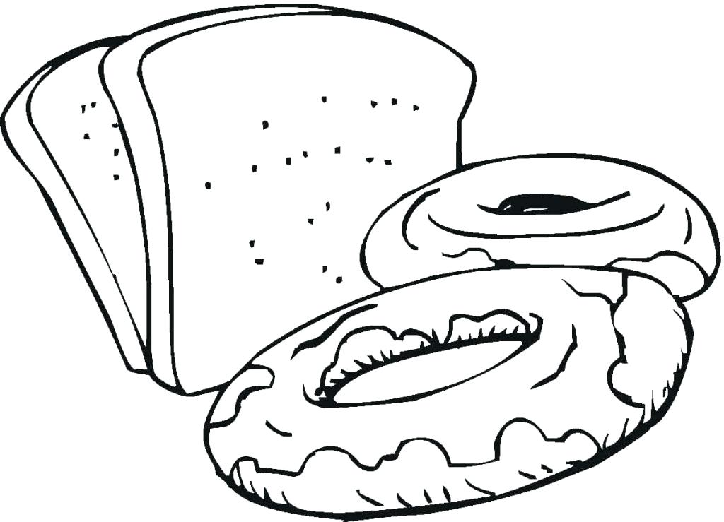 1024x739 Bread Coloring Pages Bread Roll Coloring Page Loaf Of Bread
