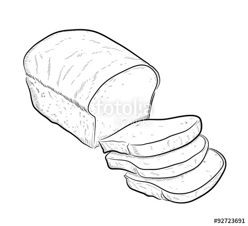 500x455 Bread Doodle, A Hand Drawn Vector Doodle Illustration Of A Sliced