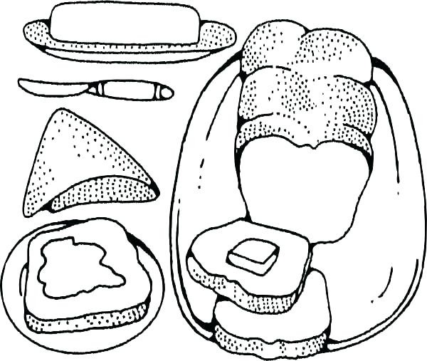 600x507 Elegant Slice Of Bread Coloring Page Grilled Cheese Drawing