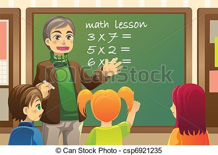 450x320 Teacher In Classroom. A Vector Illustration Of A Teacher Teaching