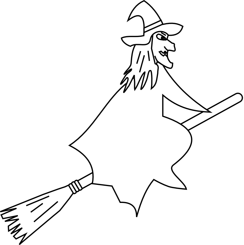 Drawing Of A Witch On A Broomstick