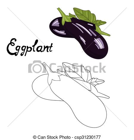 450x470 Educational Game Coloring Book Eggplant Vector. Educational