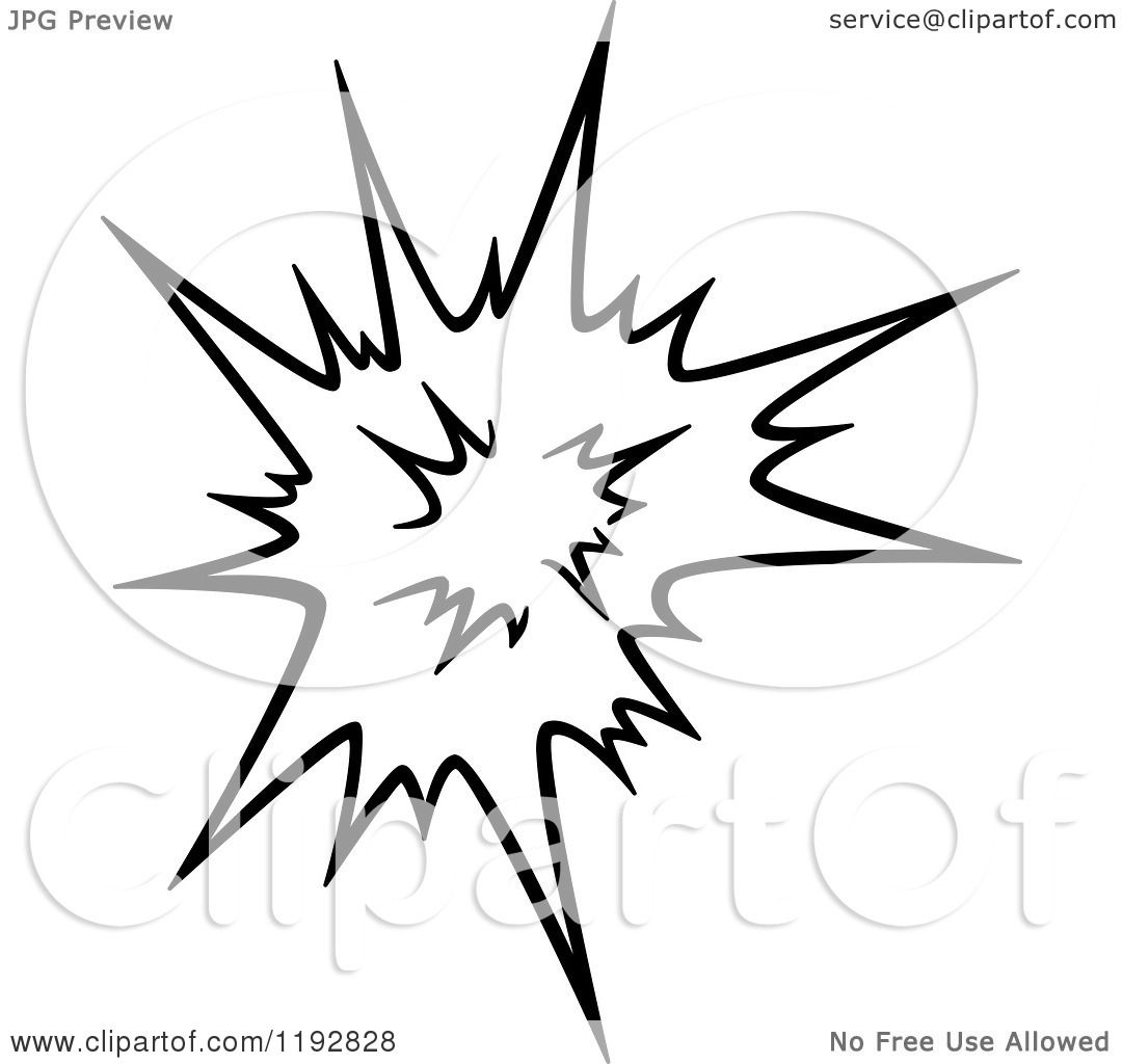 1080x1024 Clipart Of A Black And White Comic Burst Explosion Or Poof 5