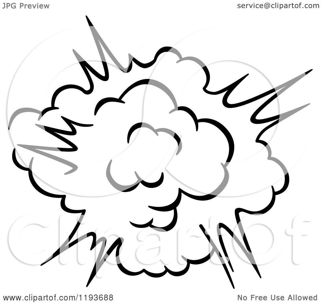 1080x1024 Clipart Of A Black And White Comic Burst Explosion Or Poof 7