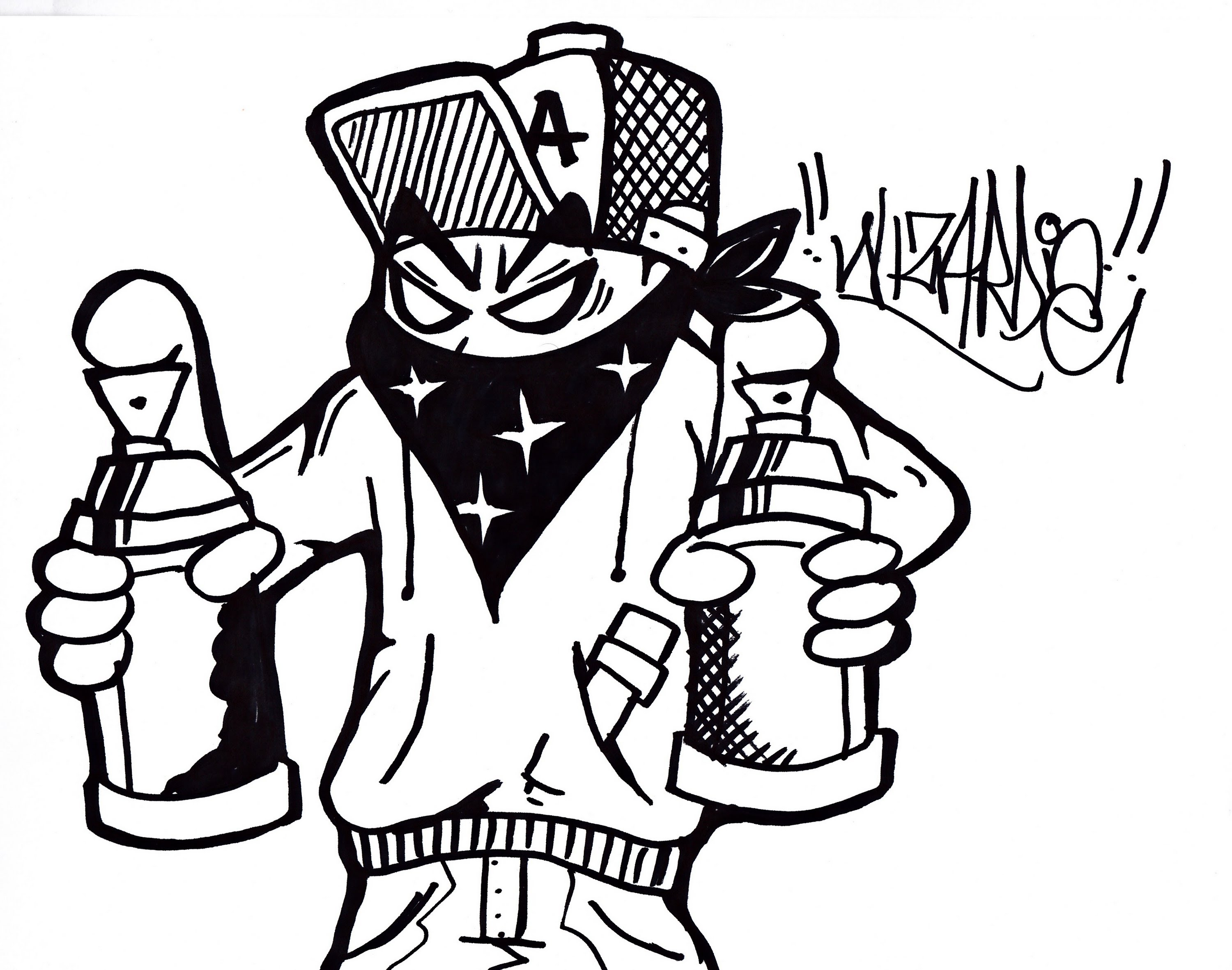 3000x2363 How To Draw A Graffiti Character Holding Spraycans.