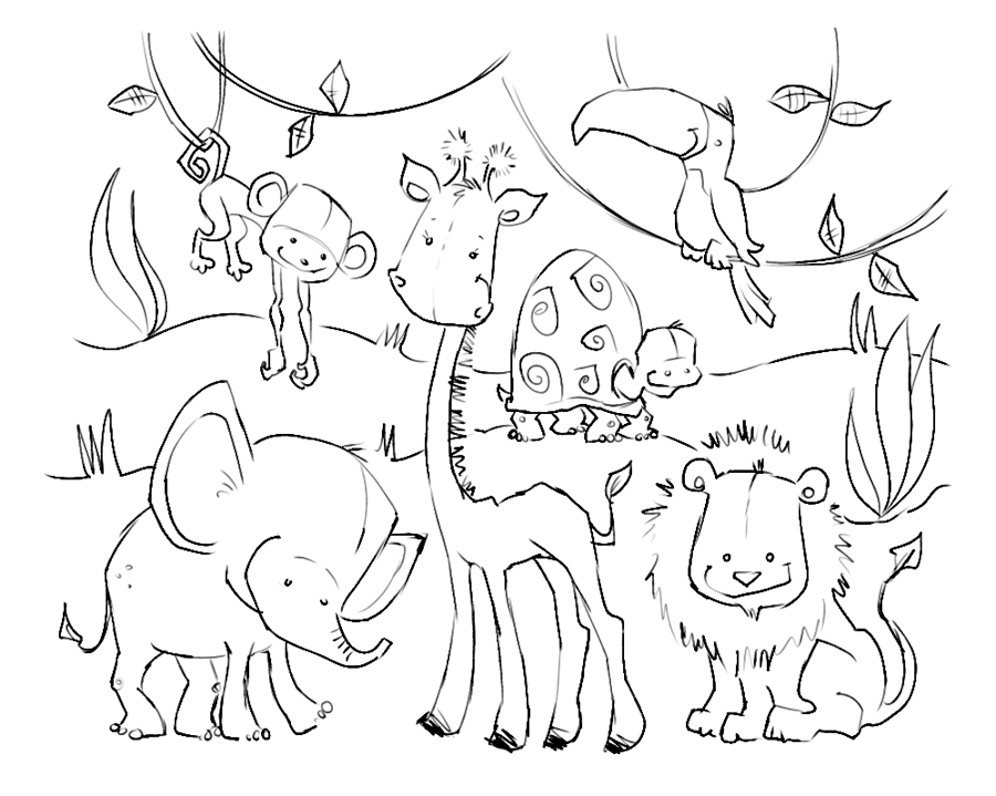 Drawing Of Jungle With Animals