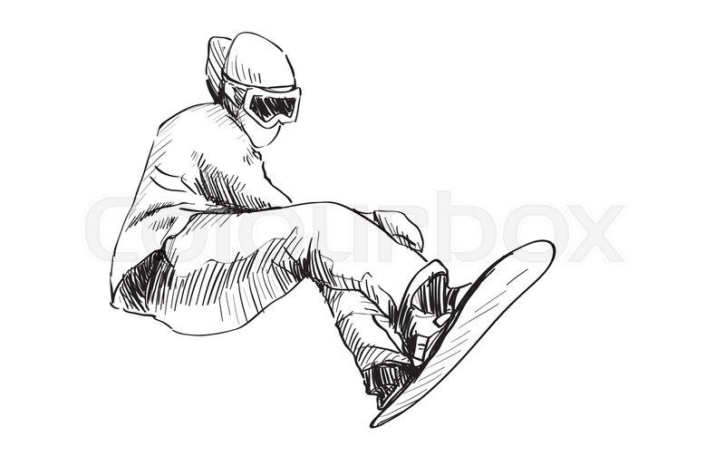 800x503 Sketch Of Snow Board Man Riding, Winter Sport, Snowboarding