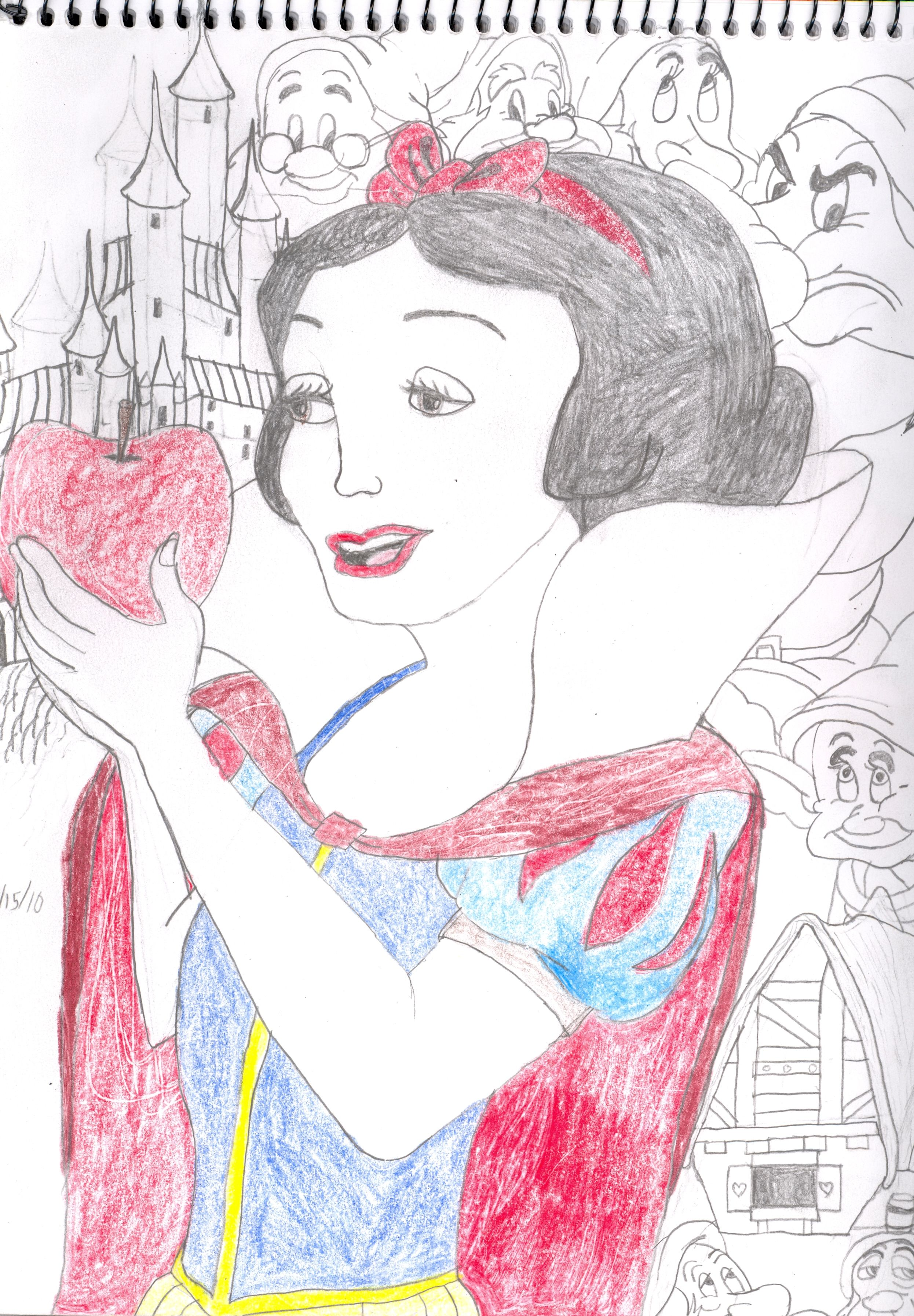 2492x3586 Drawing Of Snow White And The Seven Dwarfs Disney Drawings