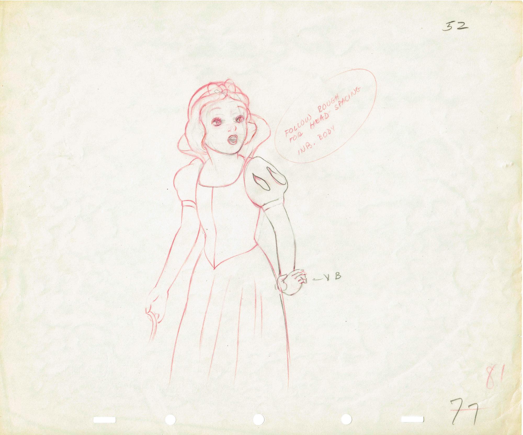 2000x1665 Original Drawing Of Snow White Walt Disney